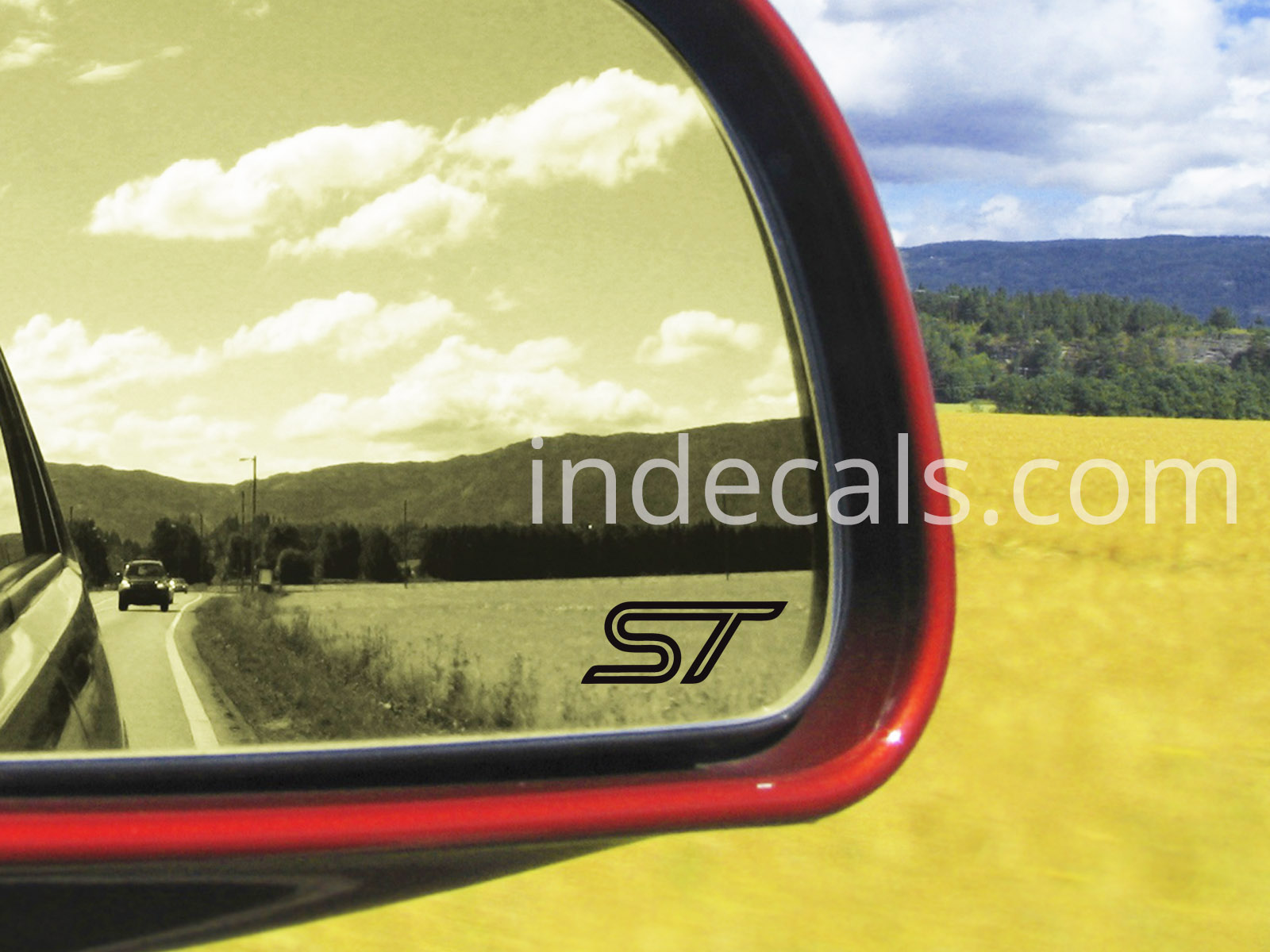 3 x Ford ST Stickers for Mirror Glass - Black