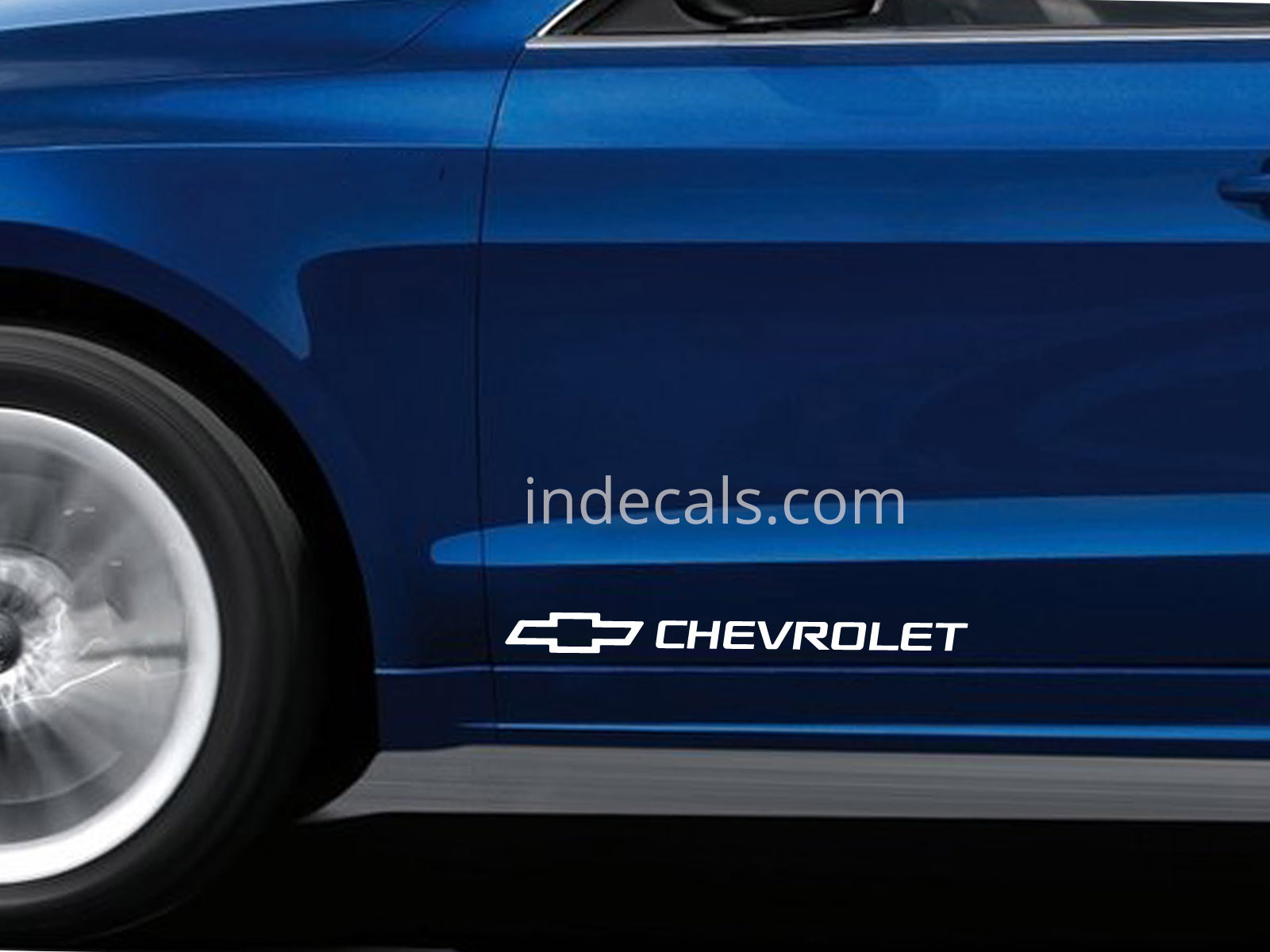 2 x Chevrolet Stickers for Doors Large - White