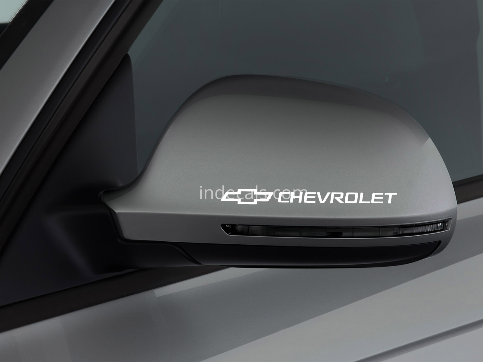 3 x Chevrolet Stickers for Mirror - White