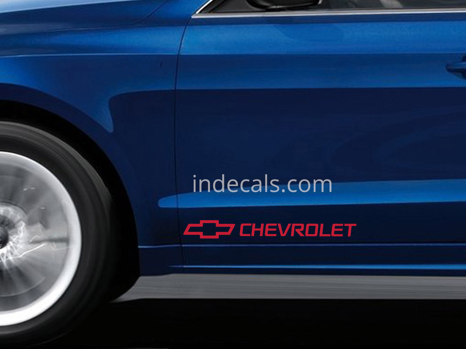 2 x Chevrolet Stickers for Doors Large - Red