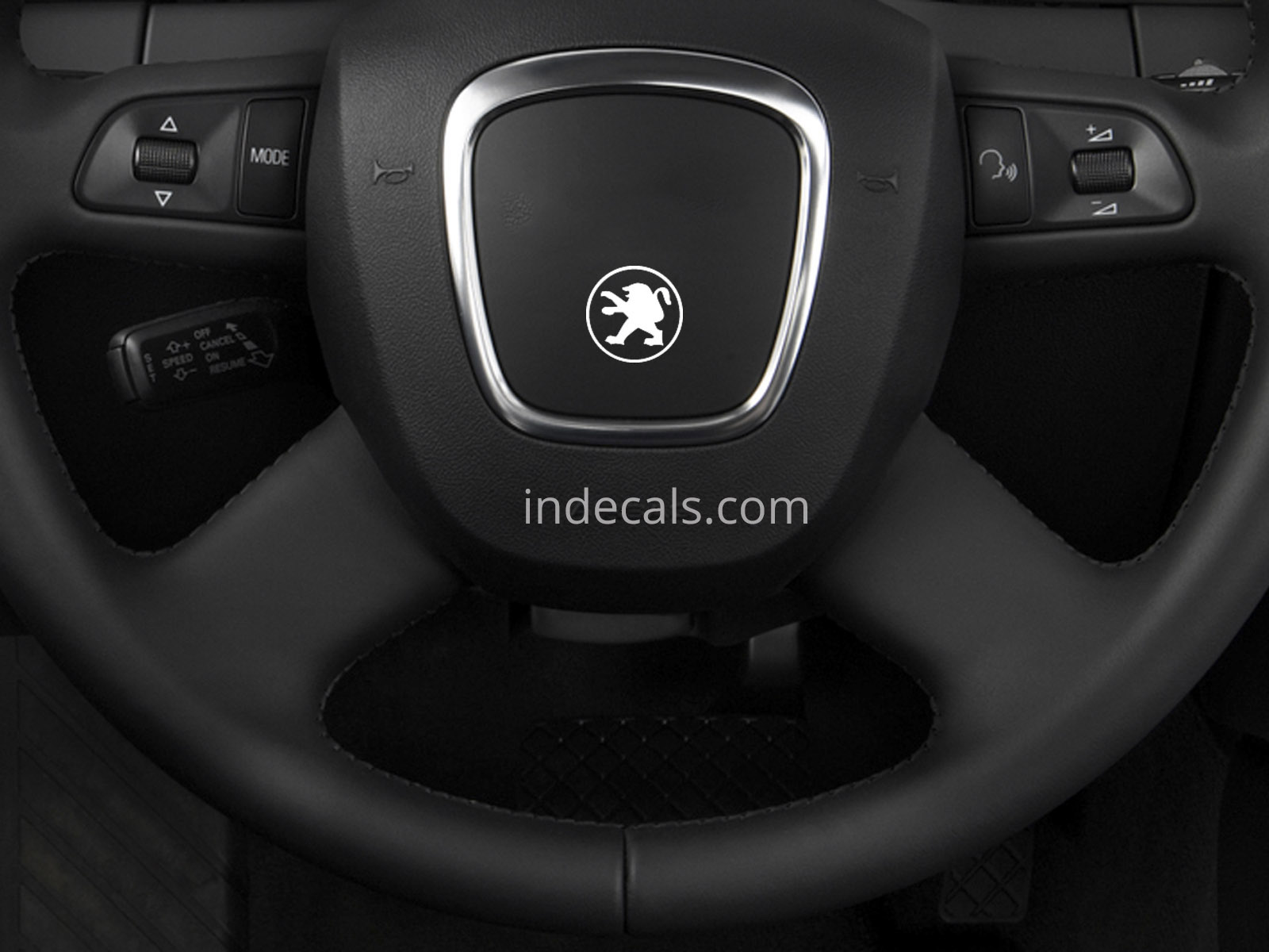 3 x Peugeot Stickers for Steering Wheel - White