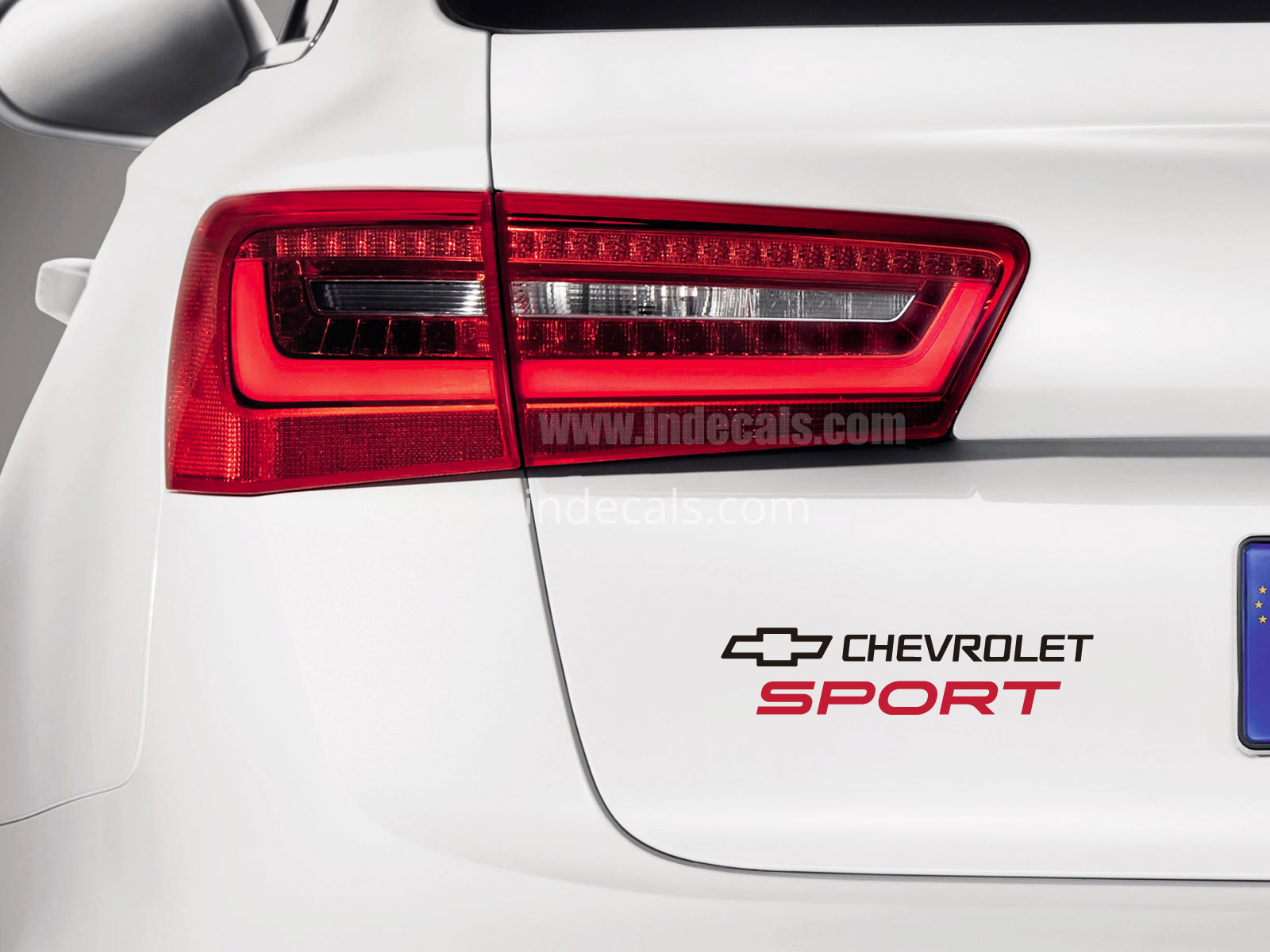 1 x Chevrolet Sports Sticker for Trunk - Black & Red