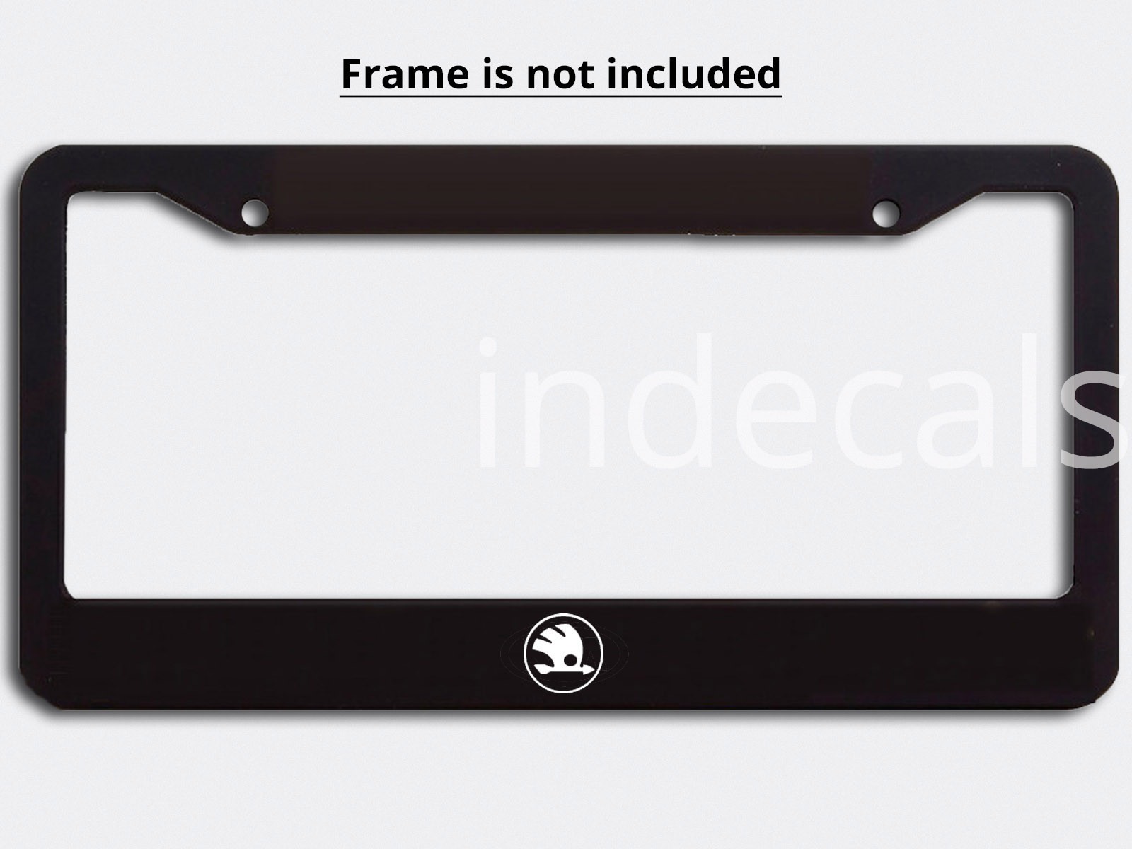 3 x Skoda Stickers for License Plate Frame - White
