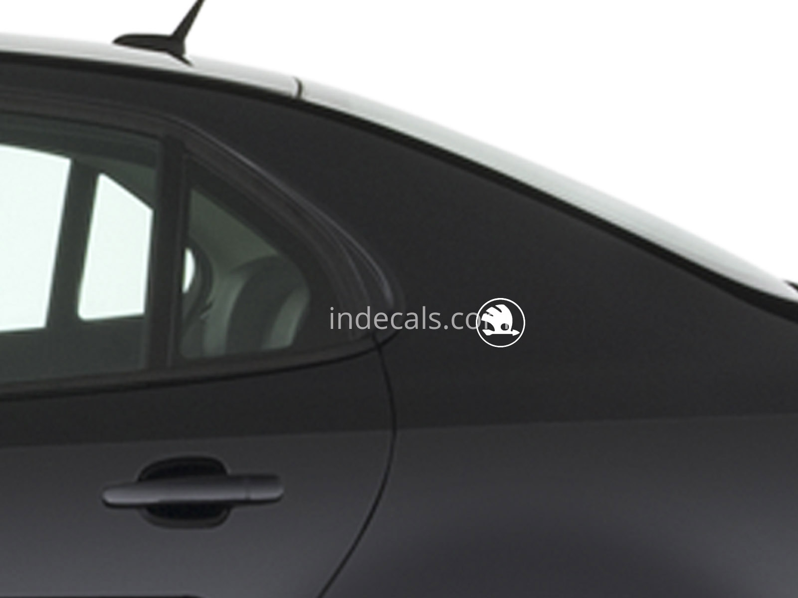 3 x Skoda Stickers for Rear Wing - White