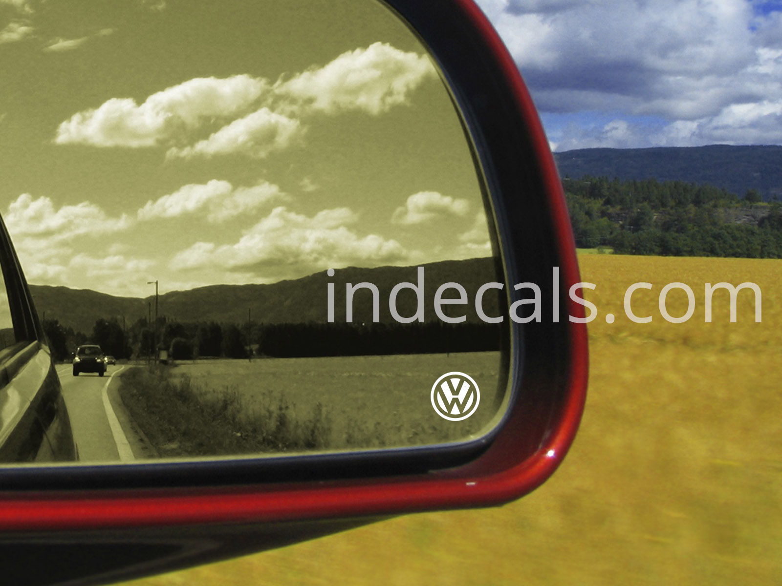 3 x Volkswagen Stickers for Mirror Glass - White