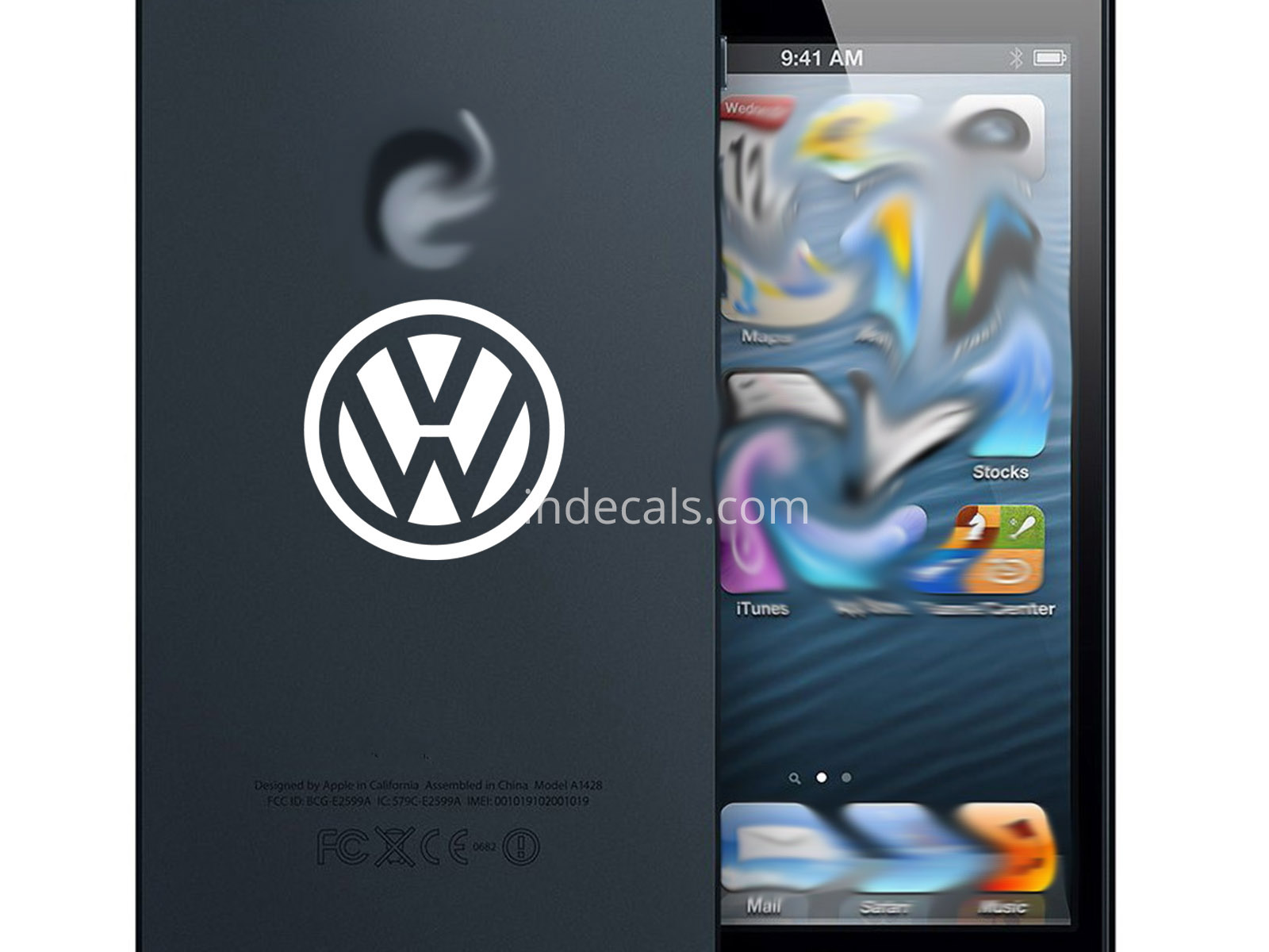 3 x Volkswagen Stickers for Smartphone - White