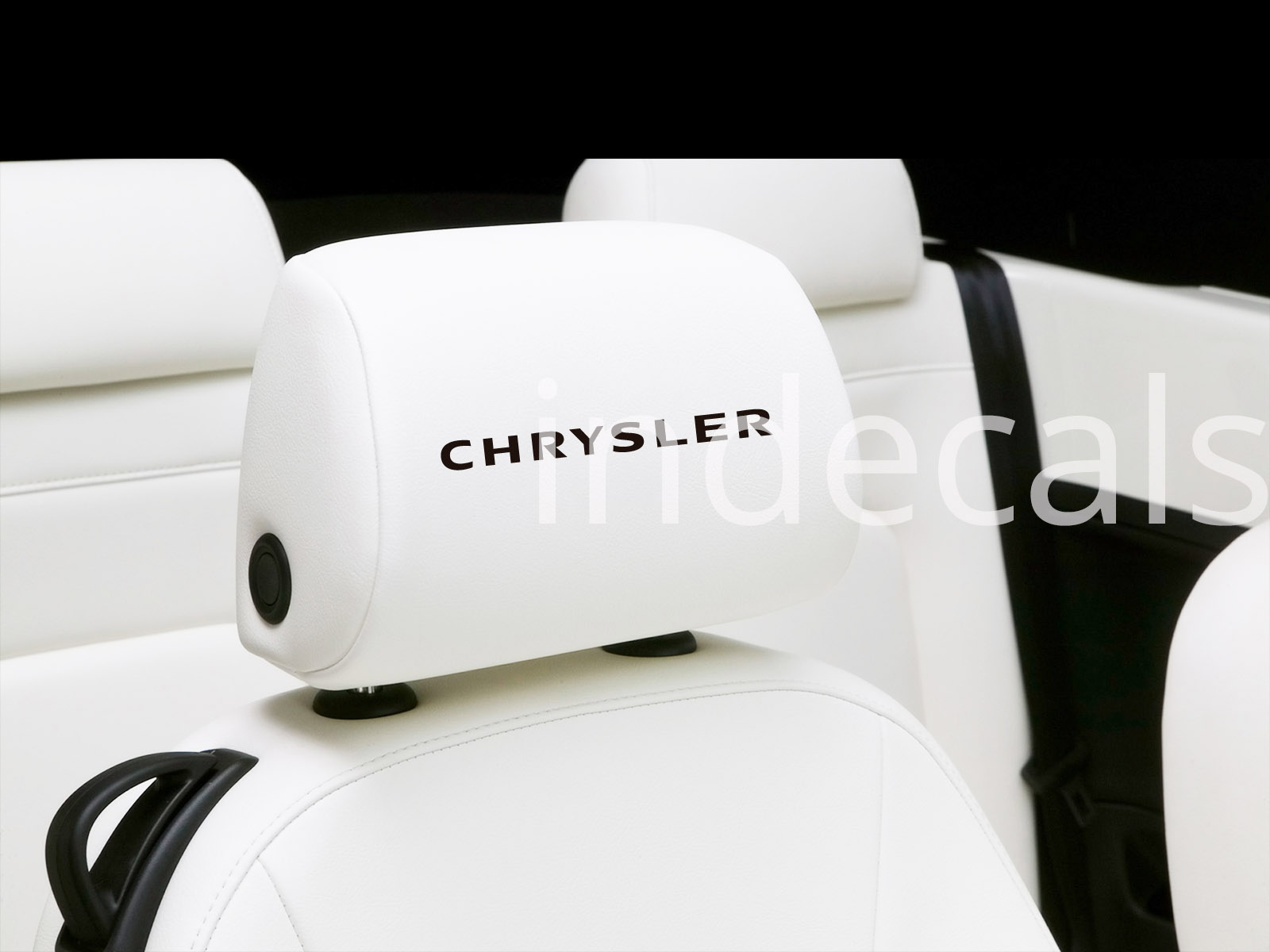 6 x Chrysler Stickers for Headrests - Black