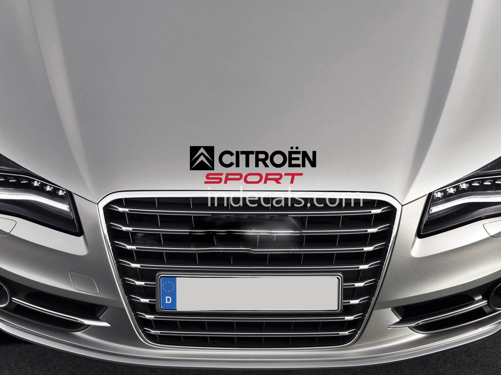 1 x Citroen Sport Sticker for Bonnet - Black & Red