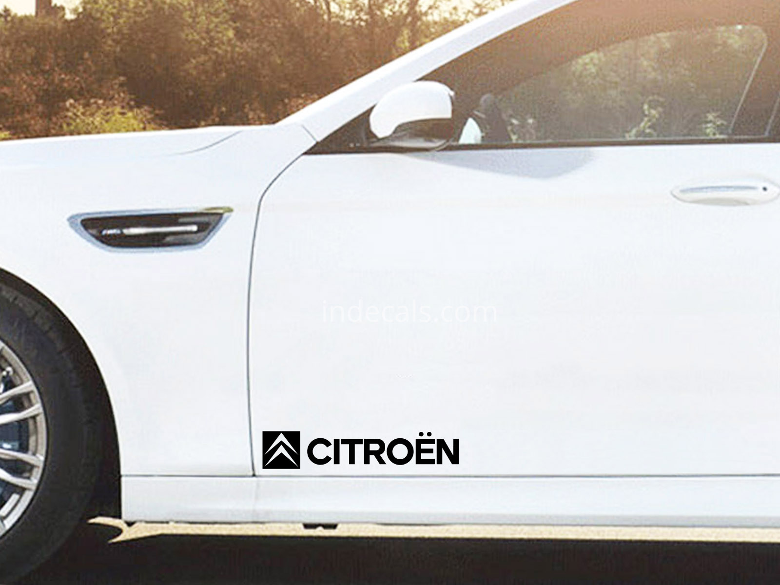 2 x Citroen Stickers for Doors Large - Black