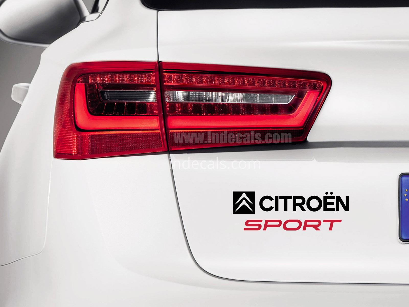 1 x Citroen Sports Sticker for Trunk - Black & Red