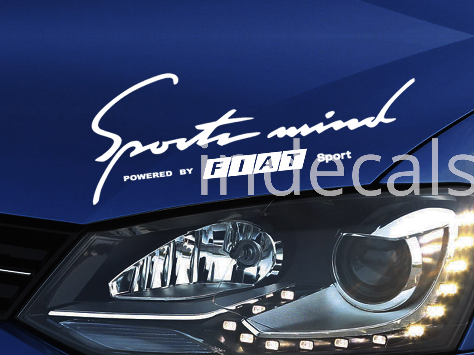 1 x Fiat Sports Mind Sticker - White