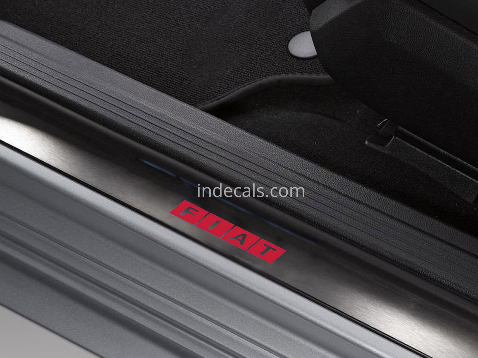 6 x Fiat Stickers for Door Sills - Red