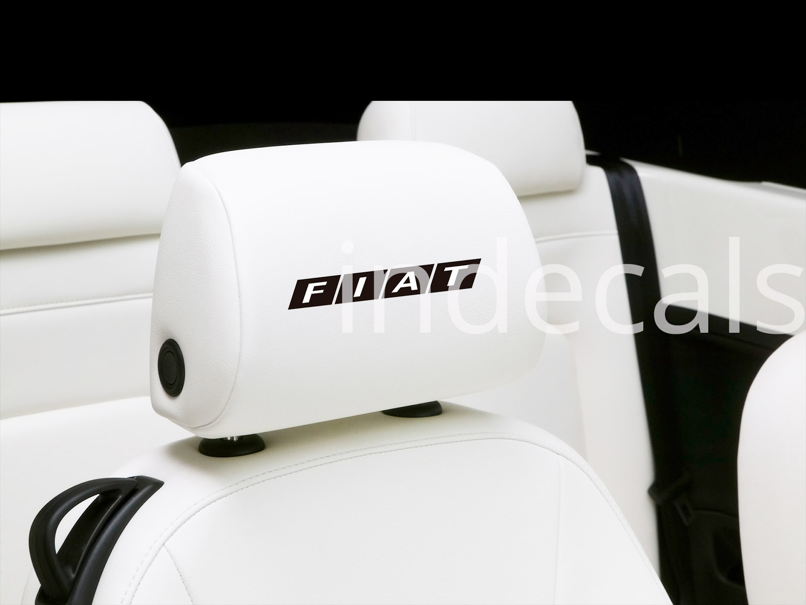6 x Fiat Stickers for Headrests - Black