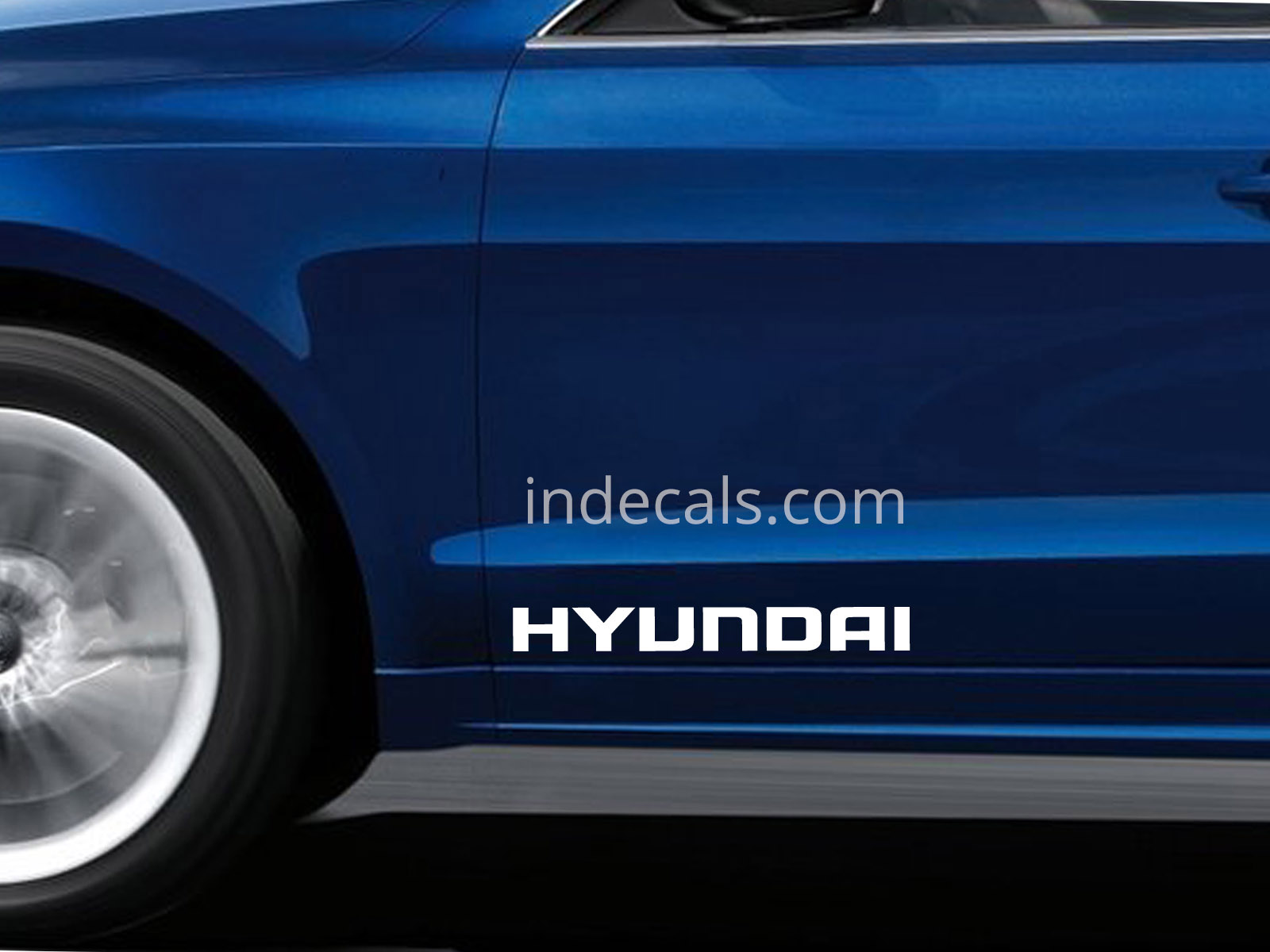 2 x Hyundai Stickers for Doors Large - White