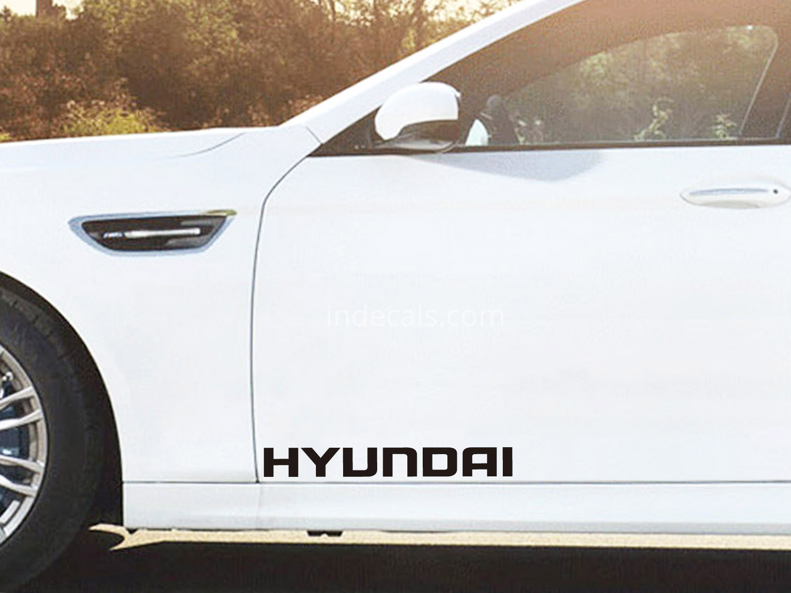 2 x Hyundai Stickers for Doors Large - Black