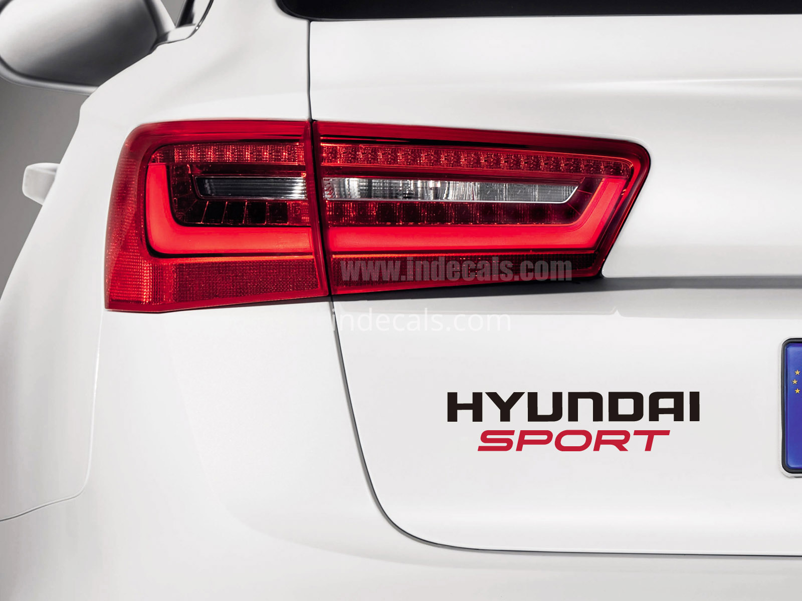 1 x Hyundai Sports Sticker for Trunk - Black & Red