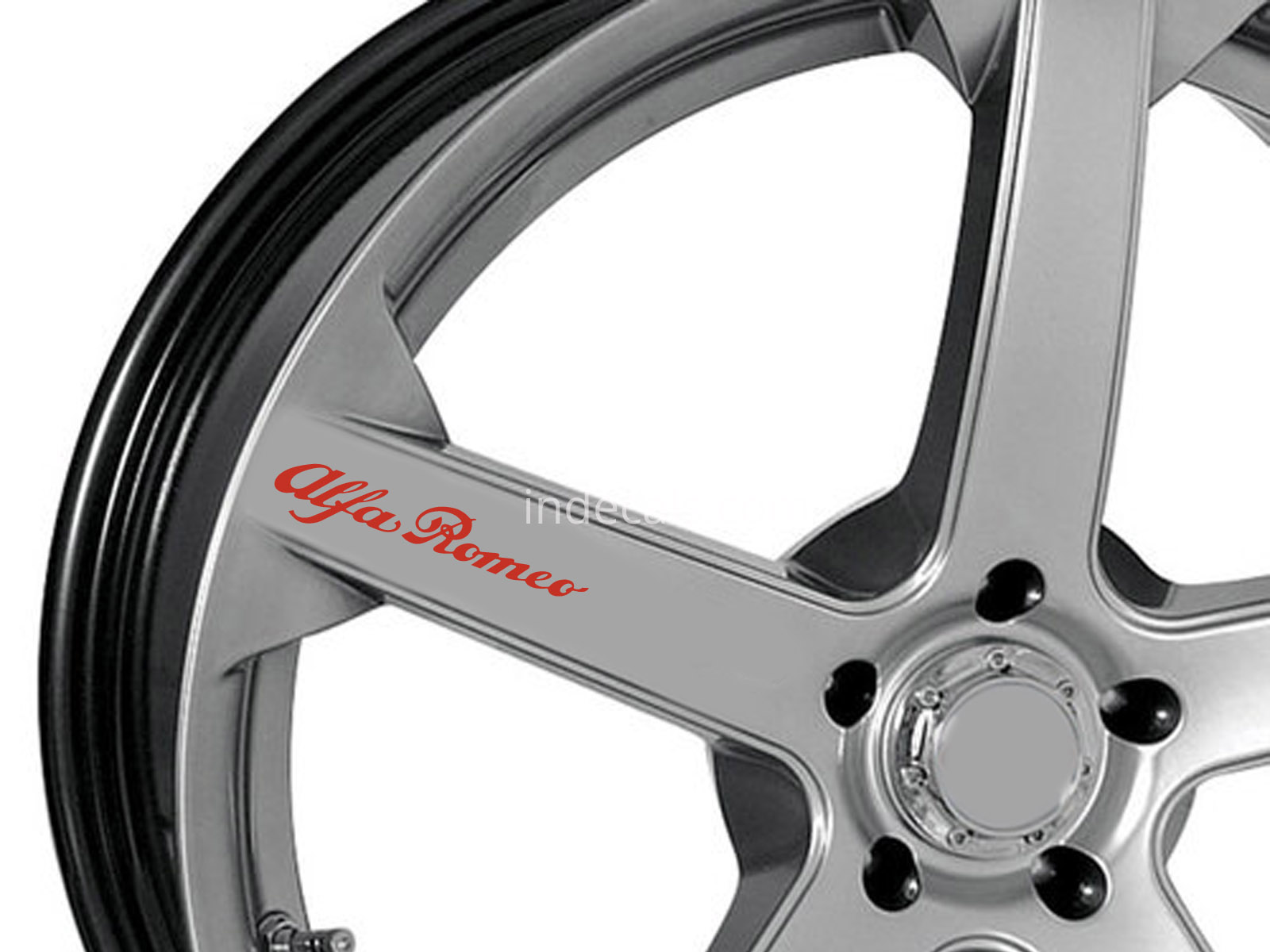 6 x Alfa Romeo Stickers for Wheels - Red