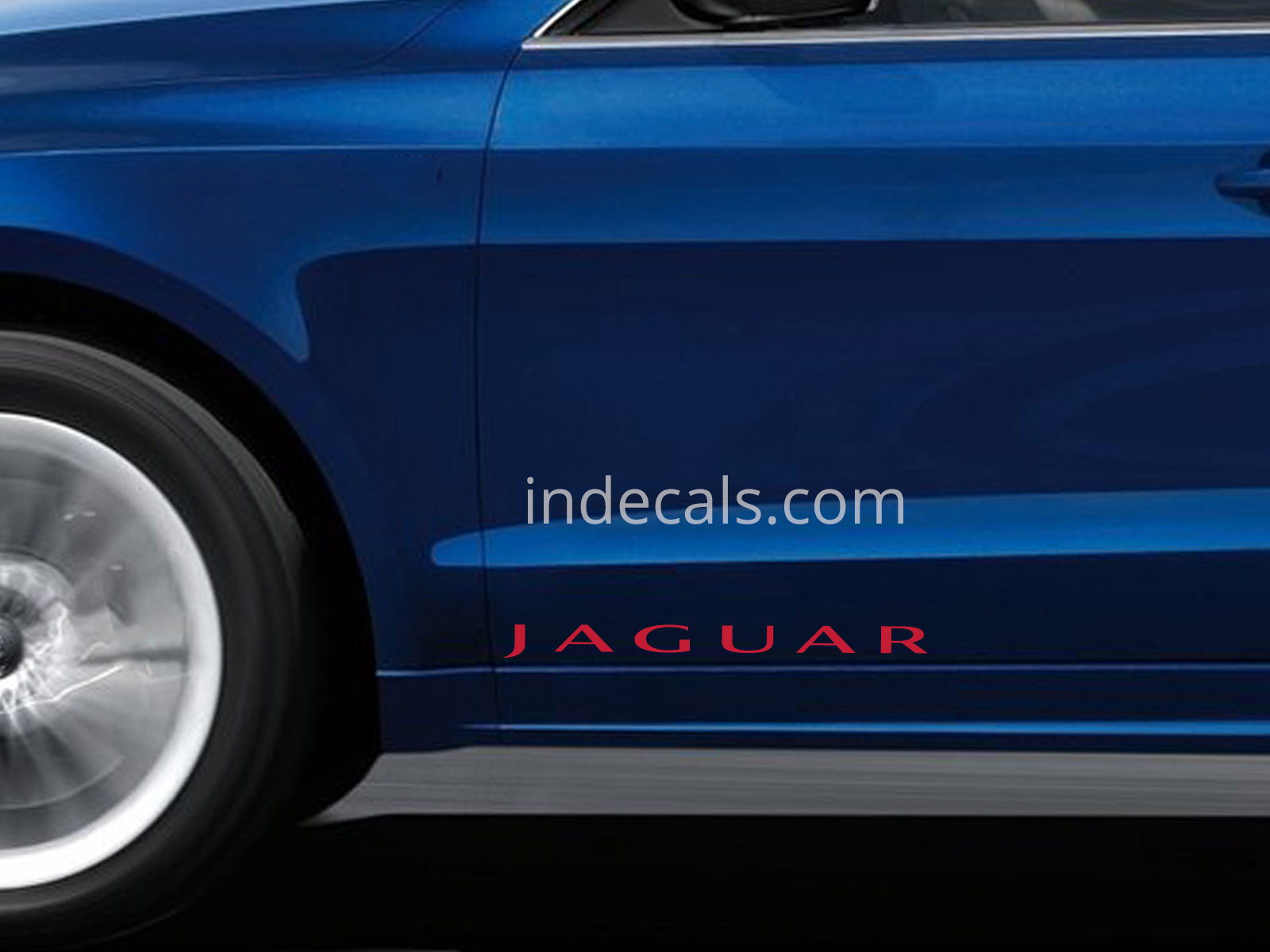 2 x Jaguar Stickers for Doors Large - Red