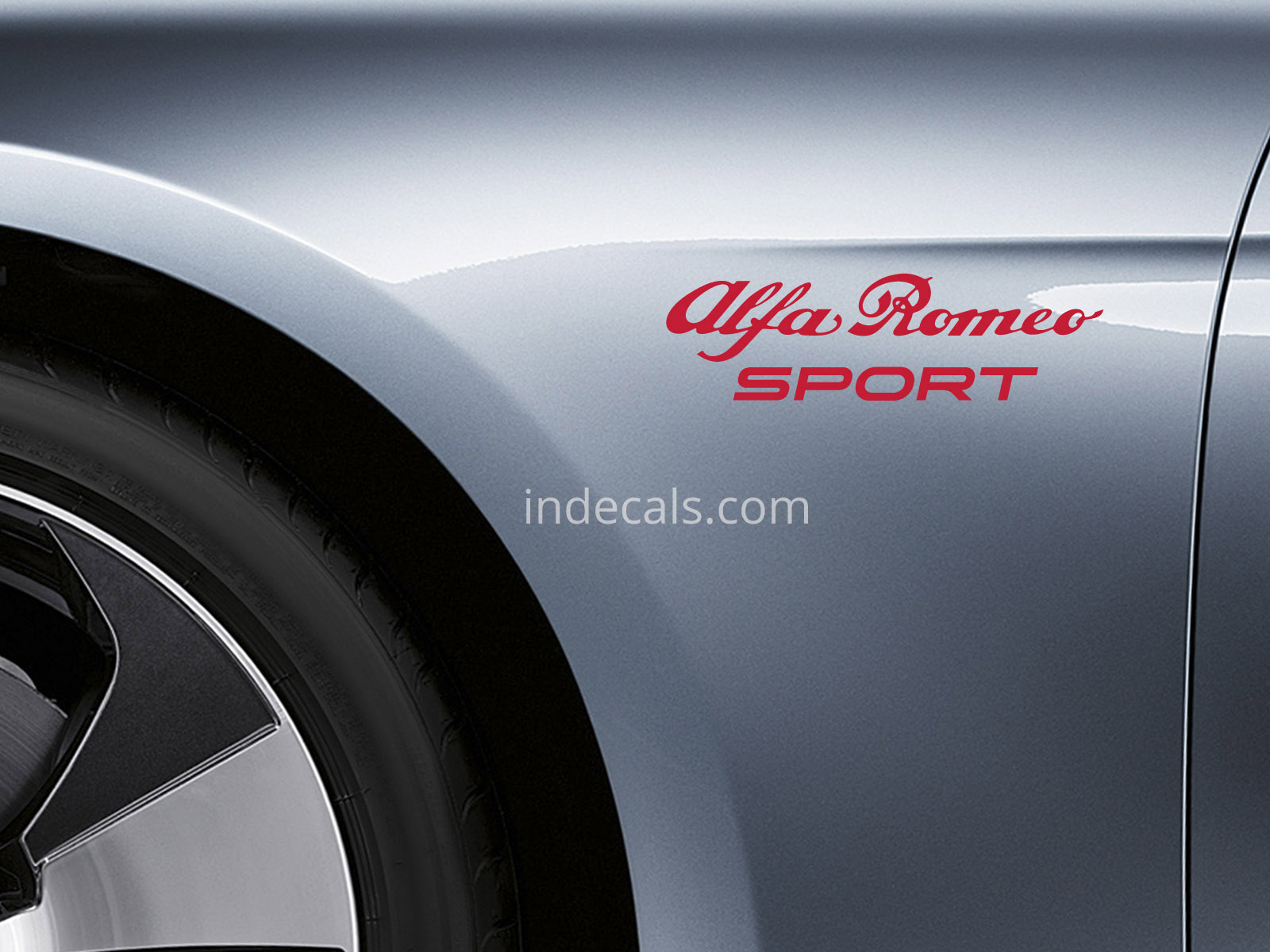 2 x Alfa Romeo Sports stickers for Wings - Red