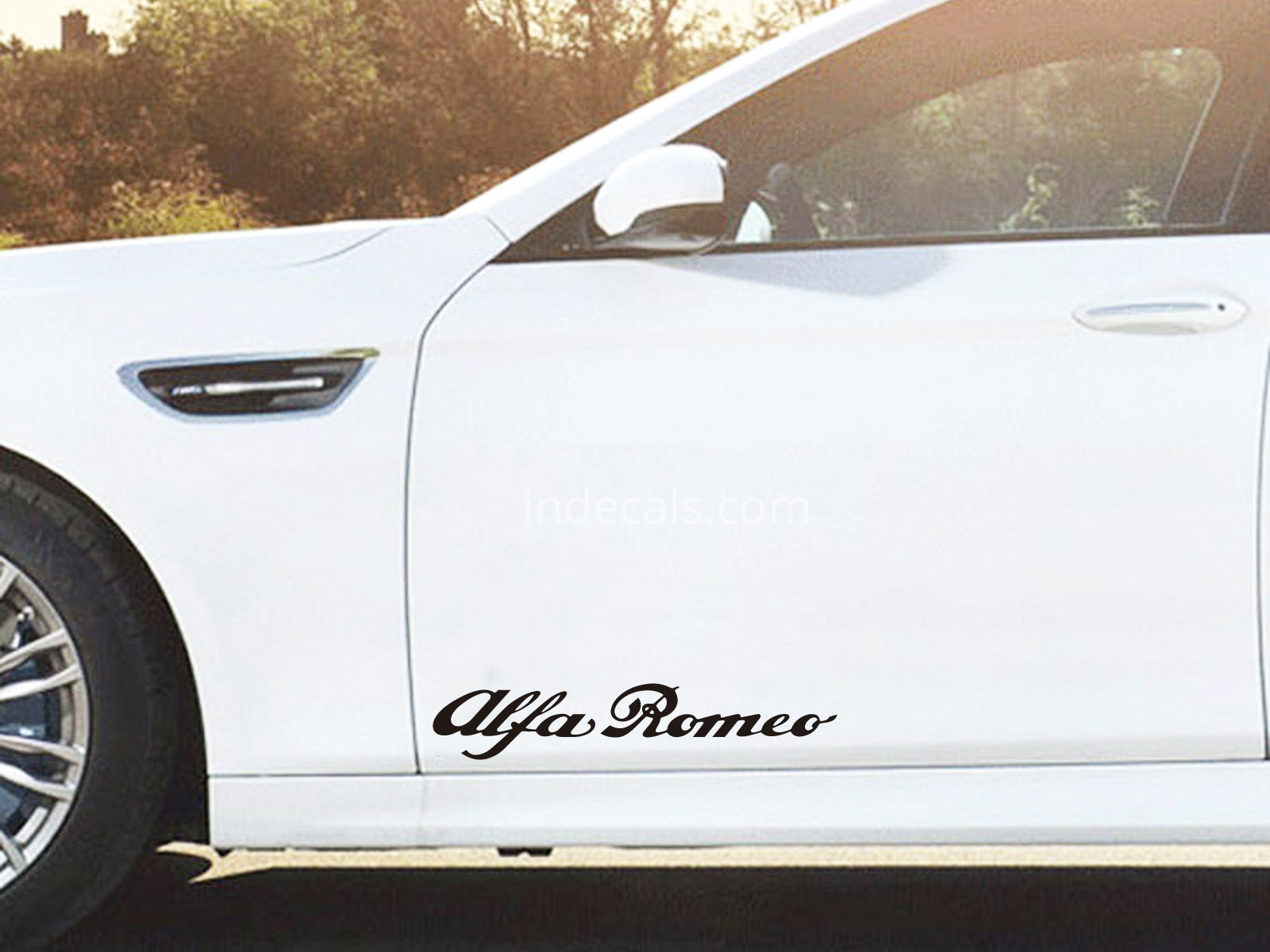 2 x Alfa Romeo Stickers for Doors Large - Black