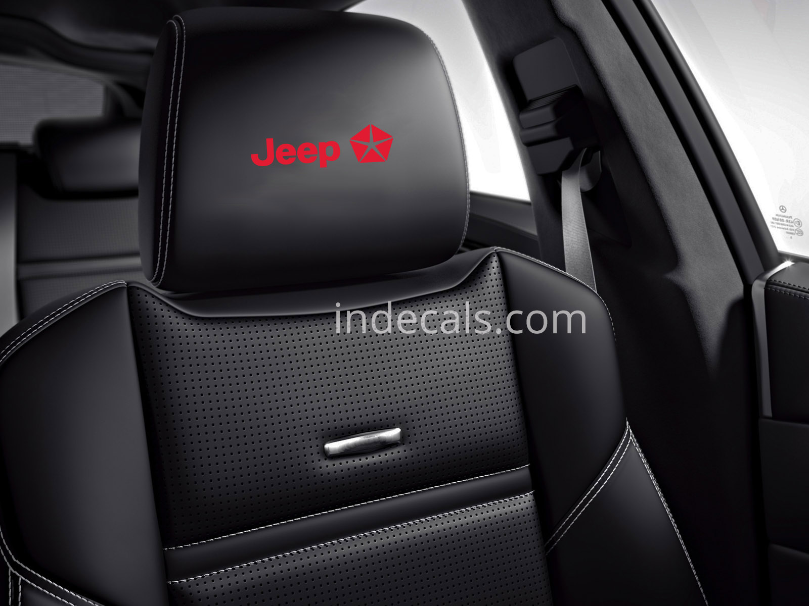 6 x Jeep Stickers for Headrests - Red