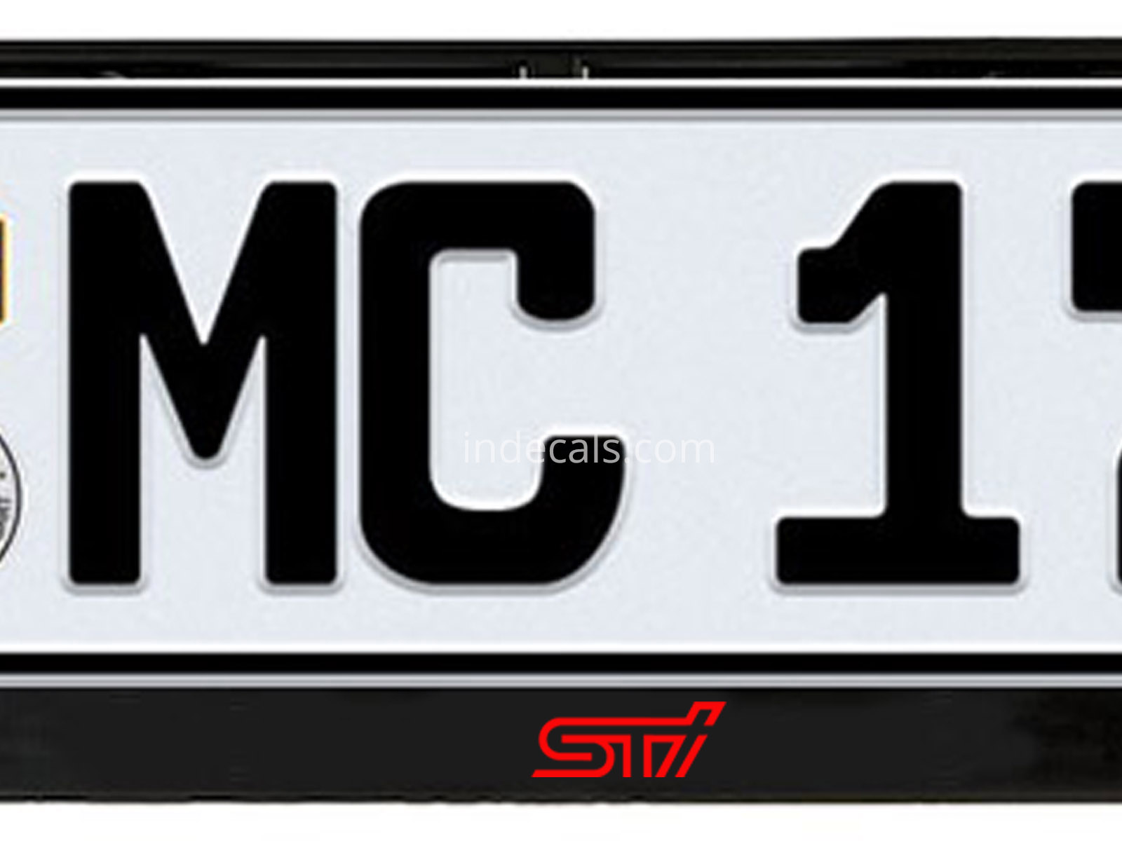 2 x Subaru STI stickers for License Plate Frame - Red