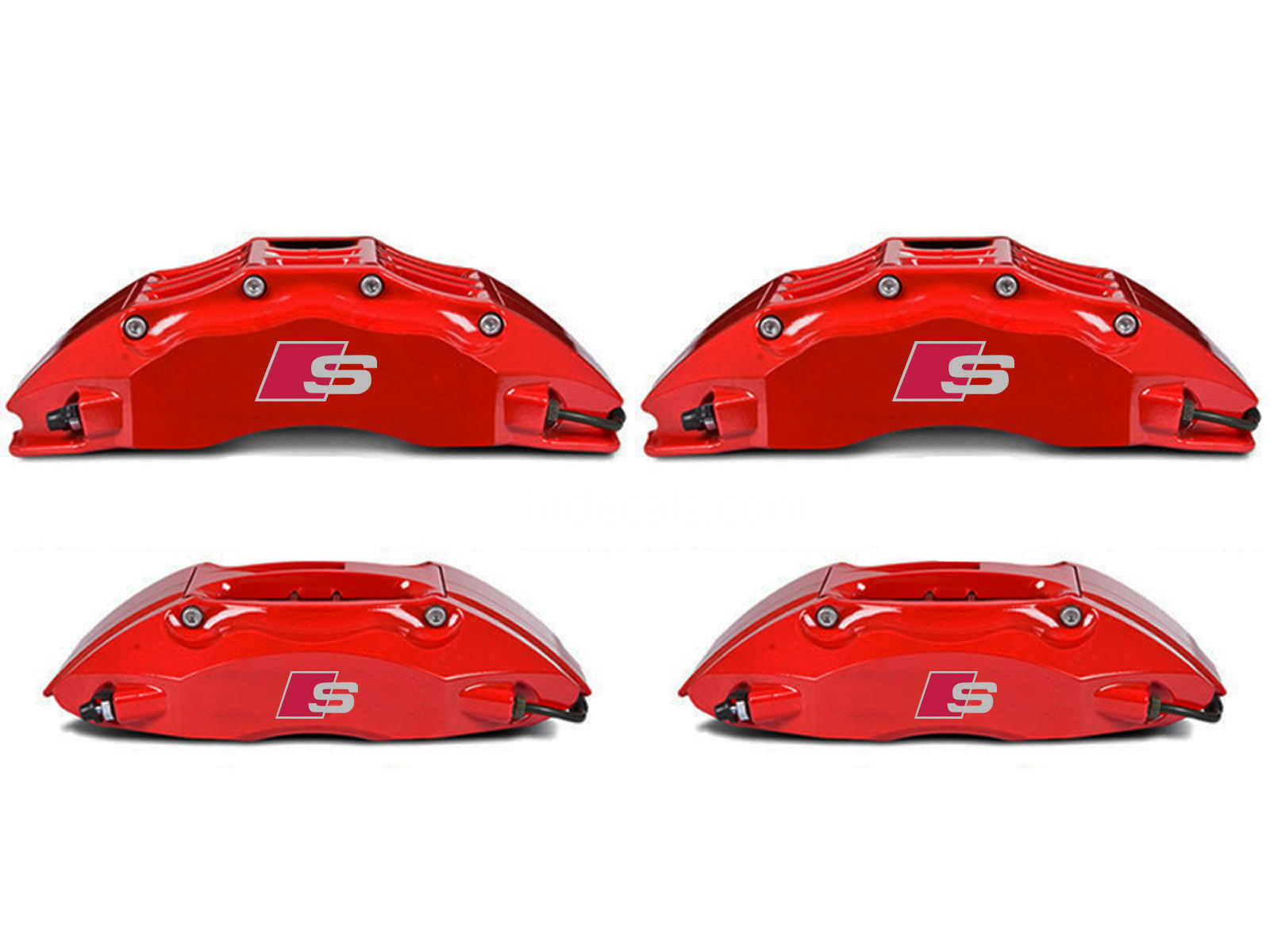 4 x Audi S-Line Stickers for Brake Calipers - Silver + Red