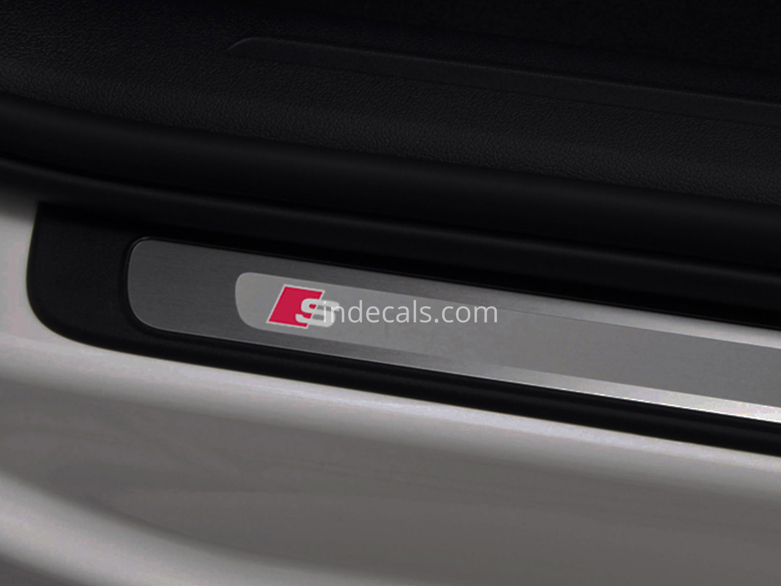 4 x Audi S-Line Stickers for Door Sills - Silver + Red