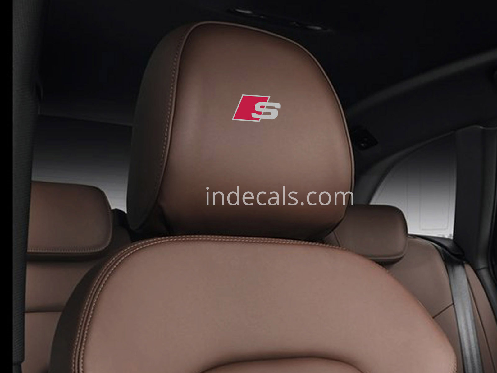 5 x Audi S-Line Stickers for Headrests - Silver + Red