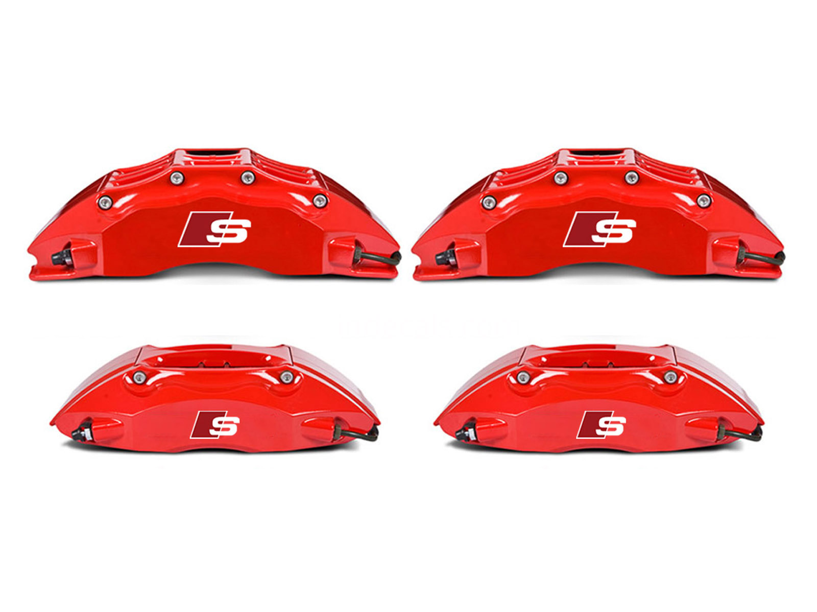 4 x Audi S-Line Stickers for Brake Calipers - White + Red