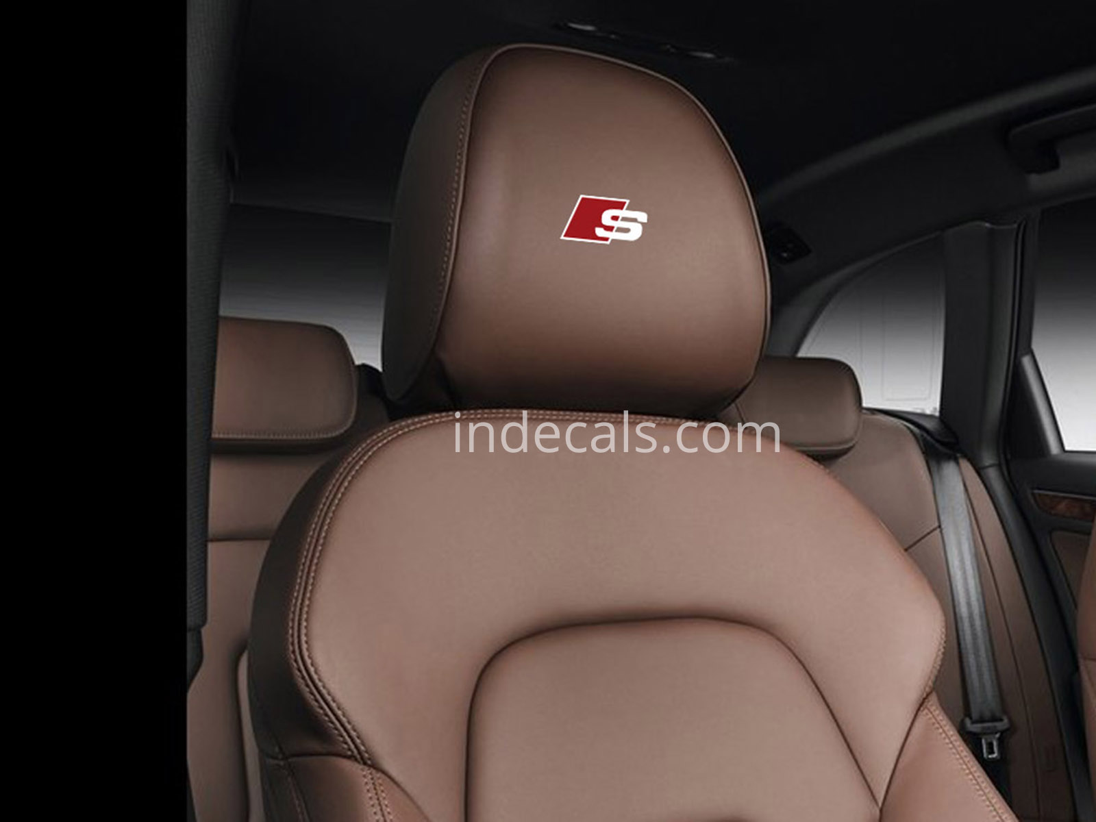 5 x Audi S-Line Stickers for Headrests - White + Red