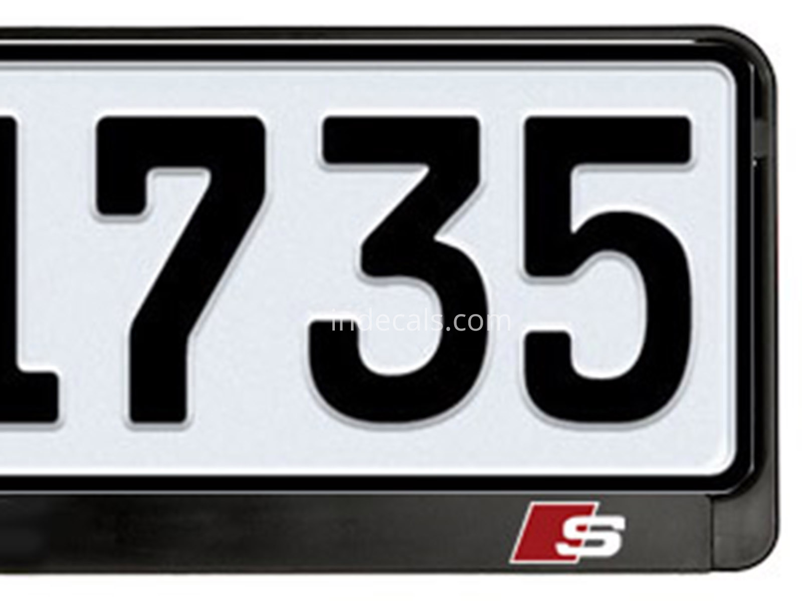 2 x Audi S-Line Stickers for Lincense Plate Frame - White + Red ...